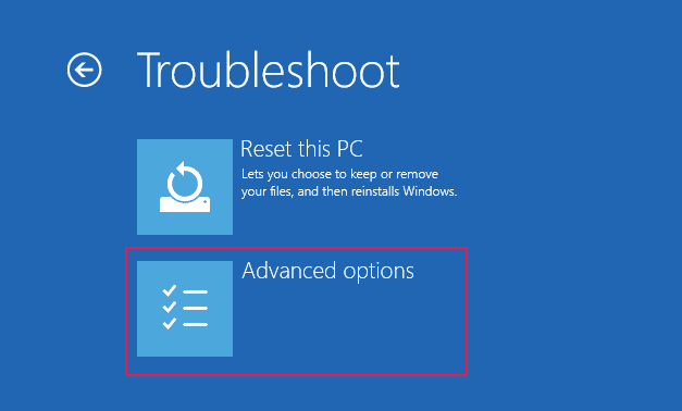 Select Advanced options from Troubleshoot on Windows 10
