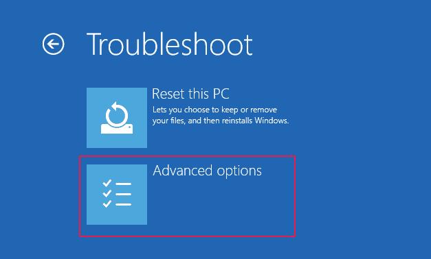 troubleshoot advanced options