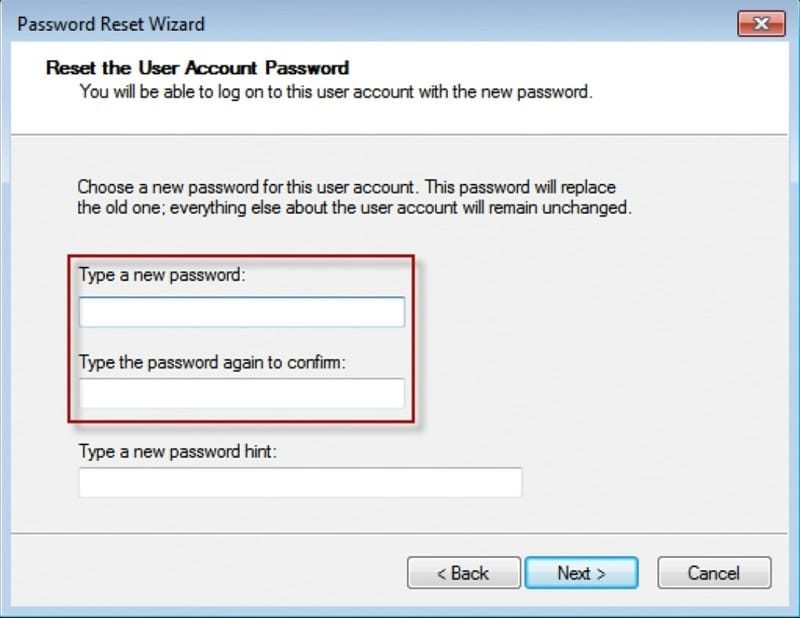 type new password in password reset wizard for dell laptop