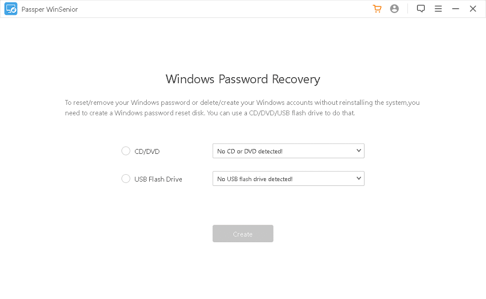 Passper Winsenior - the fastest Windows password recovery software