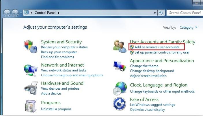 add or remove user account on Windows 7
