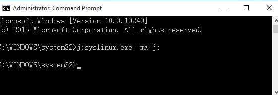 command prompt x:syslinux.exe –ma x: