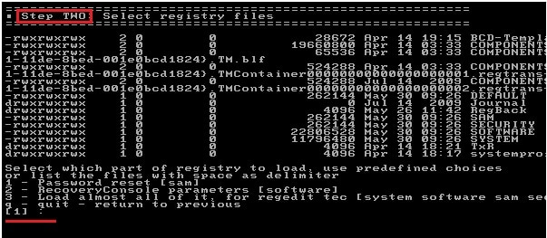 select registry file of the command prompt