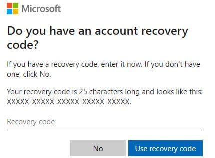 Reset Microsoft account with Microsoft Recovery code