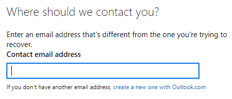 Reset Microsoft account with contact email address