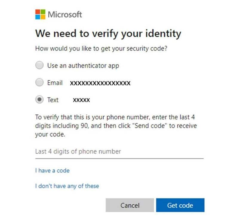 Reset Microsoft account with phone number