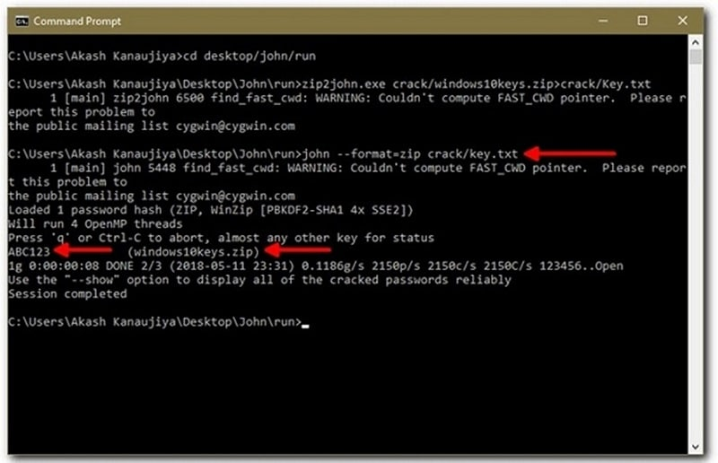 type the command with zip file name to crack password