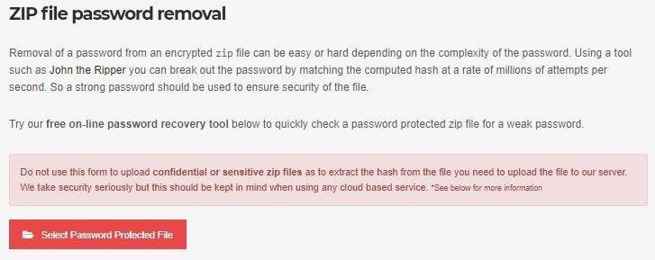 Unlock ZIP file online