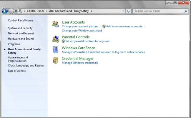 user account and family safety on Gateway laptop