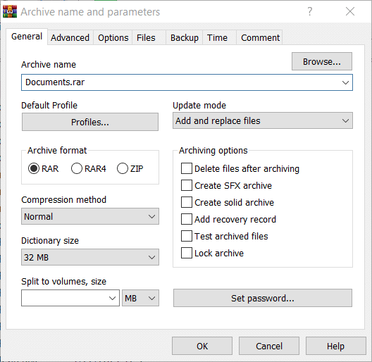 The Archive name and parameters window in WinRAR