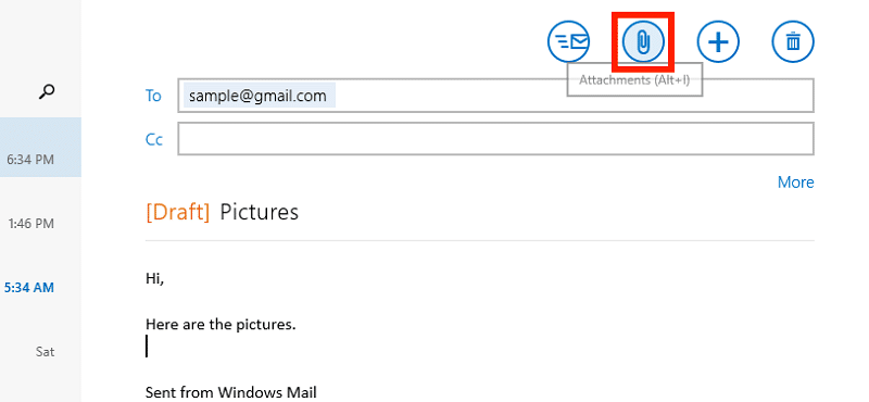 Click the attach files icon in Windows mail app