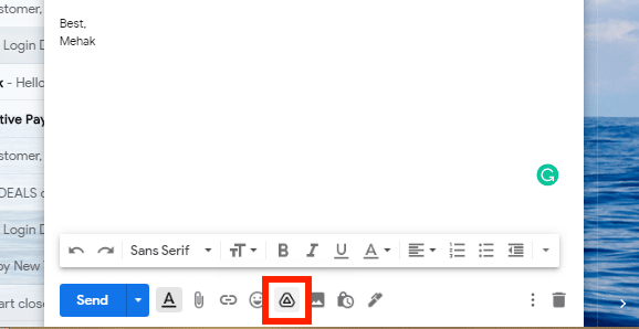 Click the drive icon in Gmail