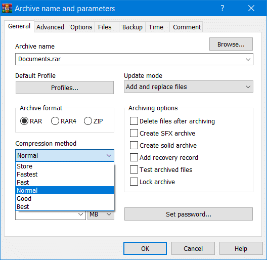 The Compression method drop-down menu in WinRAR