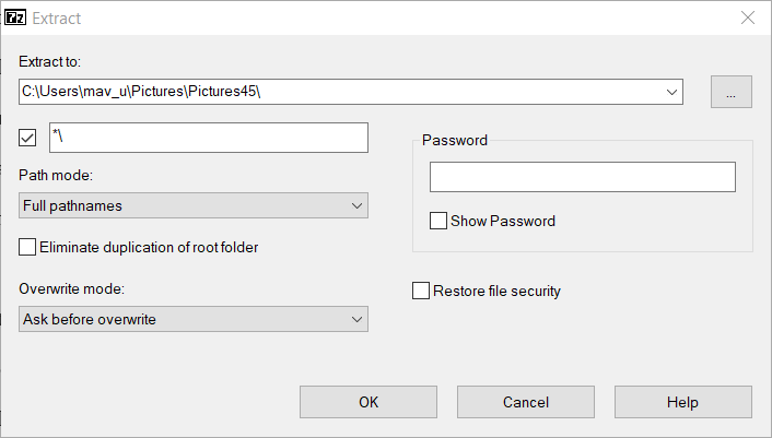 Extract password-protected RAR file