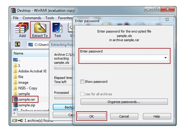 Inserting the password unrar a file with WinRAR