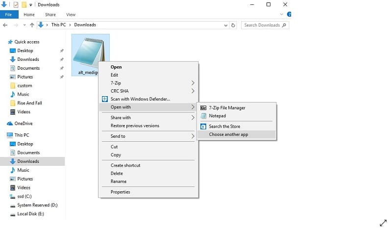 Opening the encrypted WinRAR file with Notepad