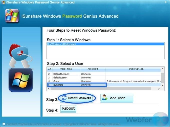 iSunshare Windows Password Genius - Reset Password