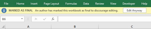 remove marked as final in excel file