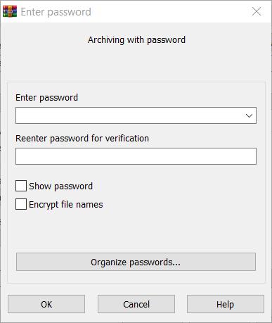 Set a password on a new RAR file