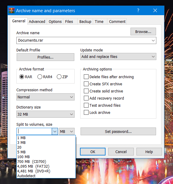 The Split to volumes, size drop-down menu in WinRAR