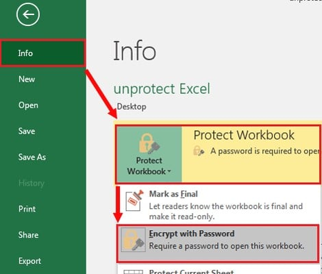 Unprotecting workbook with password – method 1