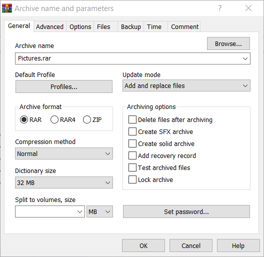 The RAR Archive name and parameters window