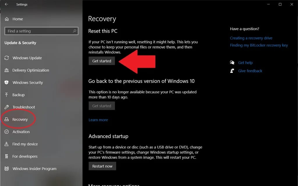click get started button to begin reset process
