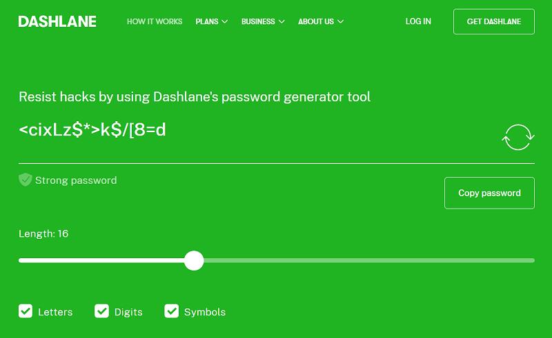 The Dashlane password generator