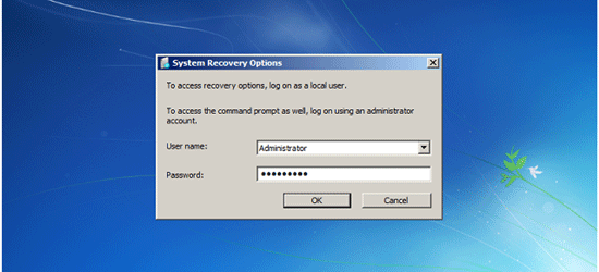 enter admin account name and password in system recovery options