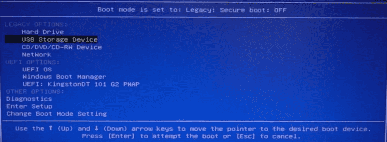 Boot Toshiba laptop from password reset disk