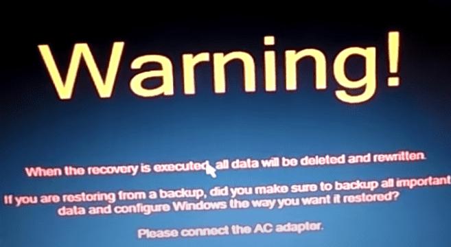 Warning on Toshiba laptop