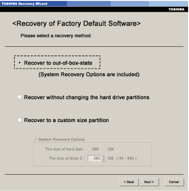Recover to out-of-box-state in Toshiba laptop