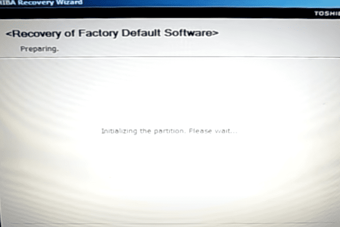 initializing the partition on Toshiba laptop