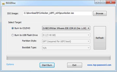 ISO2Disc – Burning PCUnlocker to CD or DVD