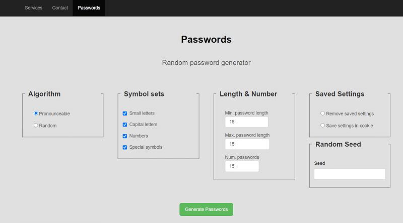 MSD's random password generator web app