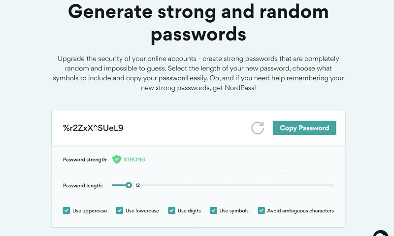The NordPass password generator