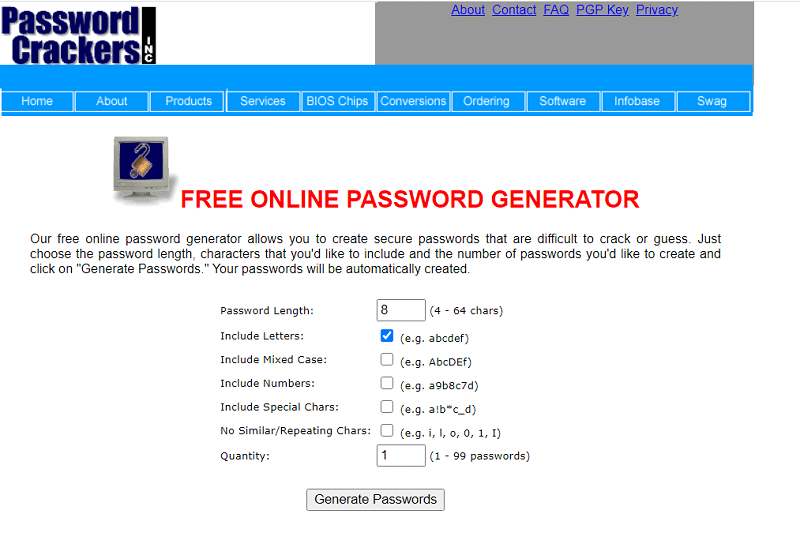 The Password Crackers password generator