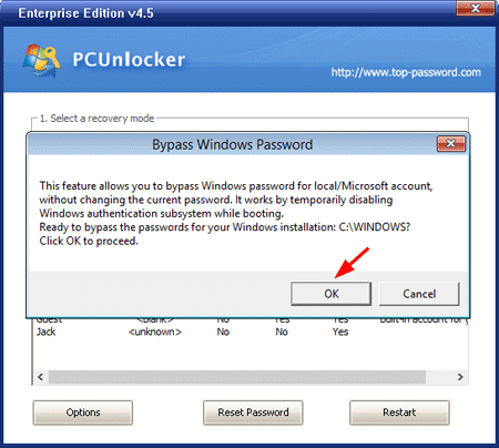PCUnlocker – Bypass Password Confirmation