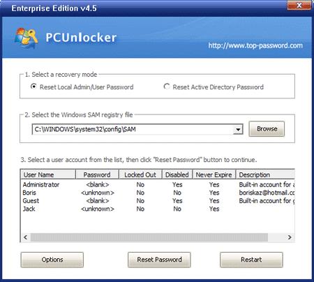 PCUnlocker – Reset Local User/Admin Password