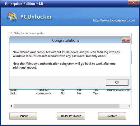 PCUnlocker – Bypass Password Success