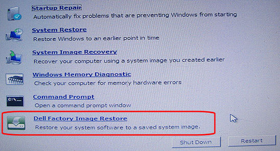 select Dell factory image restore