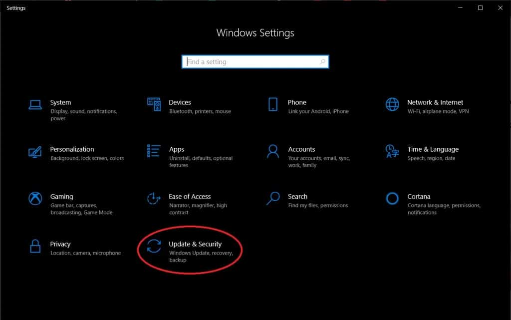 select update & security option in windows settings
