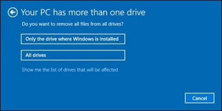 select an option to factory reset your laptop