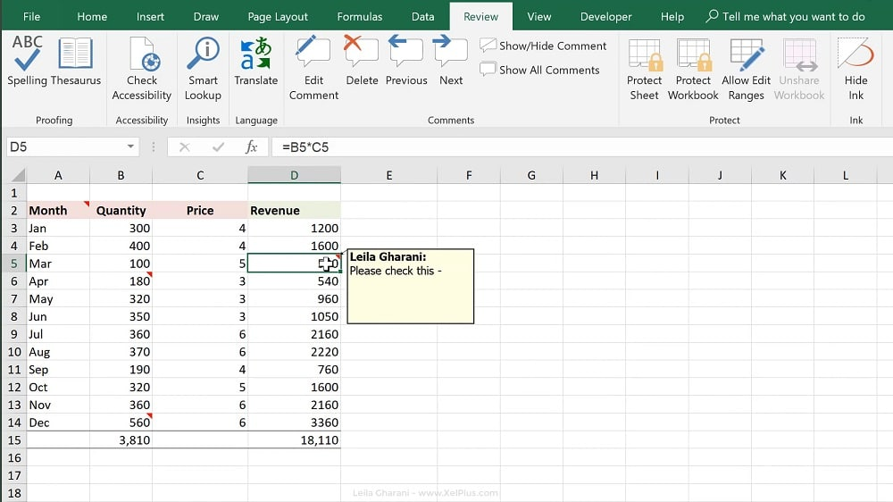 An Excel comment