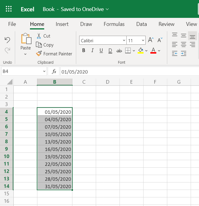 auto fill a date sequence of three increments