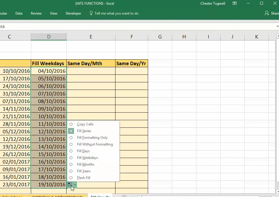"""""""Auto Fill Options"""" button and menu in Excel"""