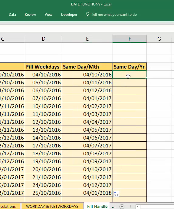 autofill a months date sequence in Excel with dragging