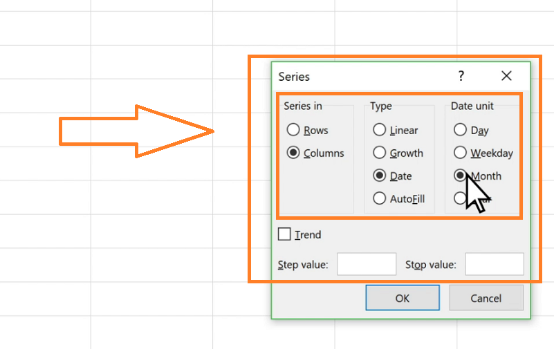 autofill dates by selecting option in Series window