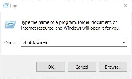 The cancel shutdown command on Windows 10