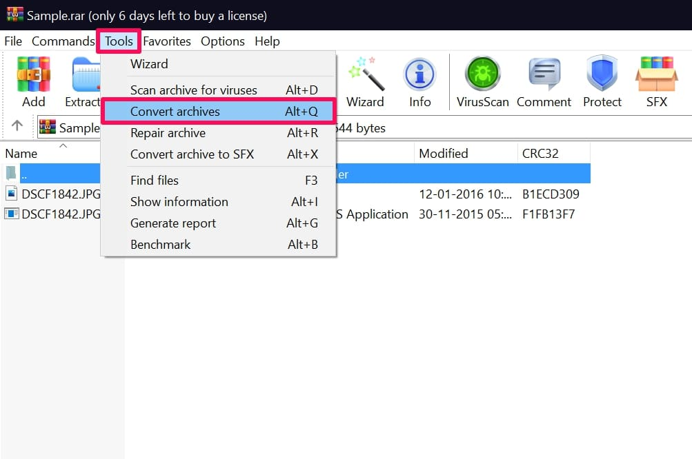 click Convert Archives in WinRAR